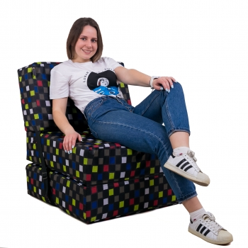 Бескаркасное кресло раскладушка Принт поролон TIA-SPORT